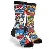 Retro Pop Art Comic Shout Unisex Adult Fun Cool 3D Print Colorful Athletic Sport Novelty Crew Tube Socks