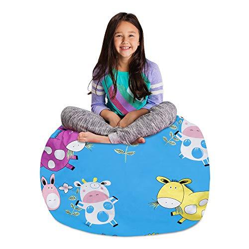 Posh Stuffable Kids Stuffed Animal Storage Bean Bag Chair Cover - Childrens Toy Organizer, Large-38' - Canvas Farm Blue