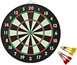 Accudart 2-in-1 Starlite Quality-Bound Paper Dartboard Game Set with Six Included Brass Darts , Black