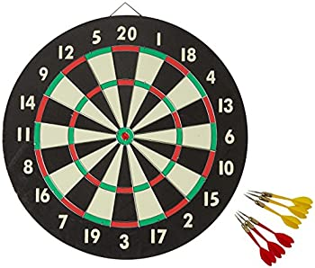 Accudart 2-in-1 Starlite Quality-Bound Paper Dartboard Game Set with Six Included Brass Darts  Black