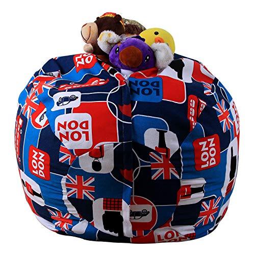OUXIYA 45,7 cm Stofftier-Bean Bag Chair Bezug – 100% Baumwolle Canvas Vivid Kids Spielzeug Aufbewahrung Reißverschluss bequem Pouf für Unisex Jungen Mädchen Kleinkind, Cartoon, 45,7 cm