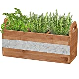 Barnyard Designs Rustic Wood and Metal 3-Compartment Planter