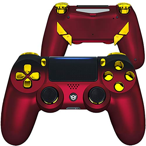 HexGaming HEX Edge Controller 4 Mappable Back Buttons & Replaceable Thumbsticks & Hair Trigger for PS4 Pro Custom Controller PC Wireless FPS Esport Gampad - Shadow Red