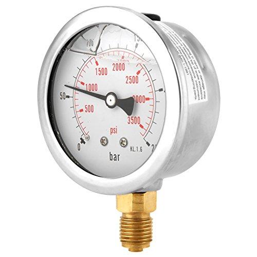 Hydraulisches Manometer, 0-250Bar 0-3750PSI G1 / 4 63-mm-Einstellrad Hydraulisches Manometer für den Wasserdruck, Messgerät mit doppelter Skala für Bar- / Psi-Messung