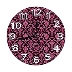 Kimisoy Round Wall Clock Abstract Seamless Pink Damask Pattern PVC Clock Silent Non-Ticking Clock Decorative Circle Wall Clock for Restaurant Office School Home Decor 9.84 Inch