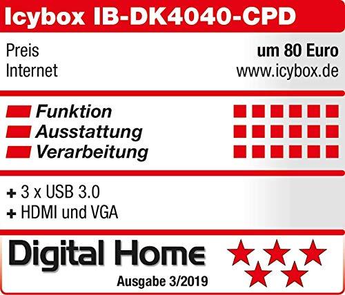 ICY BOX USB-C Dock mit HDMI, USB 3.0 Hub, Power Delivery, LAN, Kartenleser, Audio, VGA für MacBook und Laptop, Aluminium