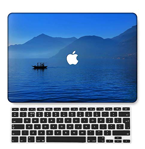 GangdaoCase Plastic Ultra Slim Light Hard Shell Case Cut Out Design Compatible New MacBook Pro 15 inch with Touch Bar/Touch ID with UK Keyboard Cover A1707/A1990 (Light blue series 0567)