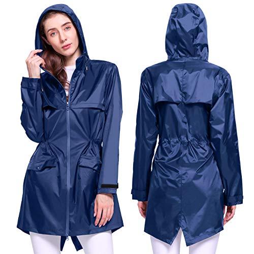 Kansoom Damen Regenmantel (Blau, XXL)