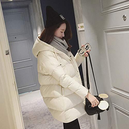 HSXQL donsjas wintermantel dames solide outwear medium lang gewatteerd dik katoen verwarmde jas donzen plus maat