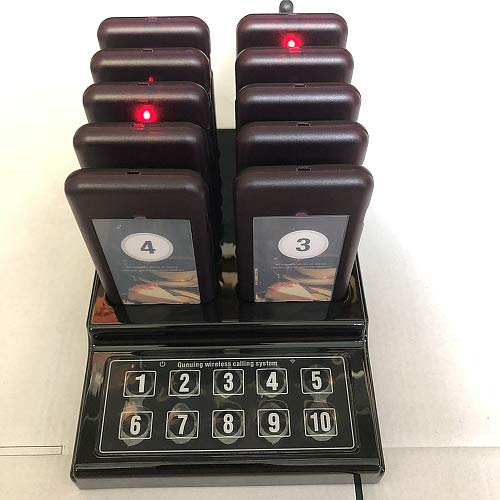 SHIHUI 10 Pager buzzers 1 keypad Queue Number Call Wireless Calling System Queue Call Restaurant Paging System for Restaurant Church Food Truck Coffee Shop Office
