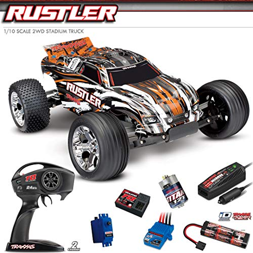Traxxas RC Buggy Rustler orange RTR +12V Lader +Akku