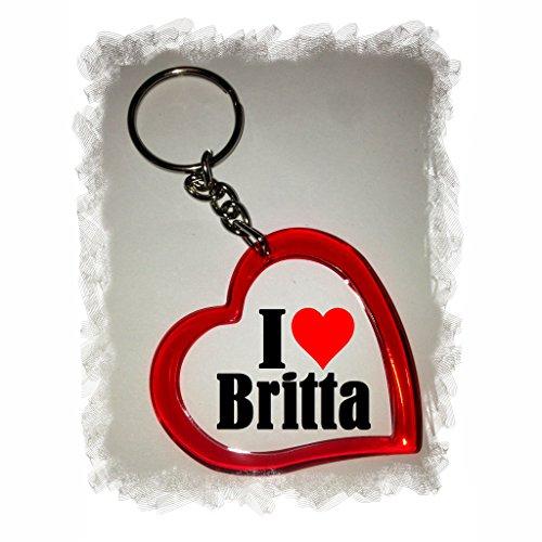 """EXCLUSIVO: Llavero del corazón """"I Love Britta"""" , una gran idea para un regalo para su pareja, familiares y muchos más! - socios remolques, encantos encantos mochila, bolso, encantos del amor, te, amigos, amantes del amor, accesorio, Amo, Made in Germany."""