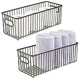 mDesign Juego de 2 cestas de metal con asas integradas – Cesto de alambre...