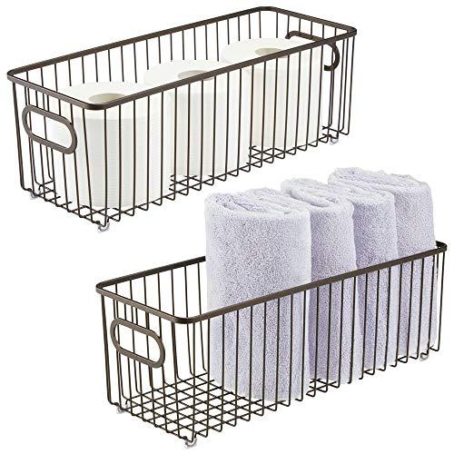 mDesign Juego de 2 cestas de metal con asas integradas – Cesto de alambre profundo con atractivo diseño de rejilla – Organizador de cosméticos para el baño – color bronce