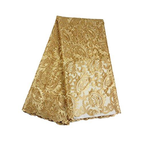 Tela de encaje suizo, diseño africano, de 4,5 m, tela de encaje de alta calidad, de tul africano, Gasa Tul lazo poliéster, dorado, 5 Yards