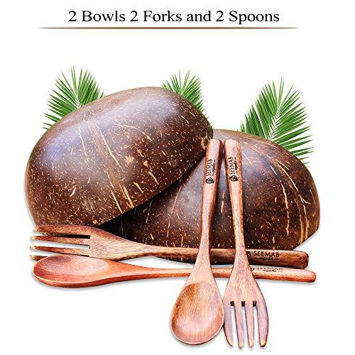 Noix de coco, cuillère et fourchette en noix de coco, 100% naturelles et écologiques, Vegan friendly, biodégradable, réutilisable, cadeau végétarien parfait - de Seemab London