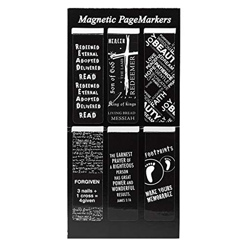 Christian Art Gifts Set of 6 Black and White Gospel Salvation Inspirational Magnetic Bible Verse Bookmark with Scripture, Size Small 2.3' x .75'
