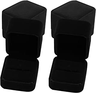 HUIMALL Ring Gift Boxes, 4 PCS Velvet Ring Box Single With Lids Earring box Jewellery Boxes Black Ring Boxes for Rings Jew...