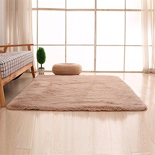 CAMAL Teppiche, Rechteck Waschbarer Seide Wolle Material Teppich für Wohnzimmer und Schlafzimmer (120cmX160cm, Licht tan)