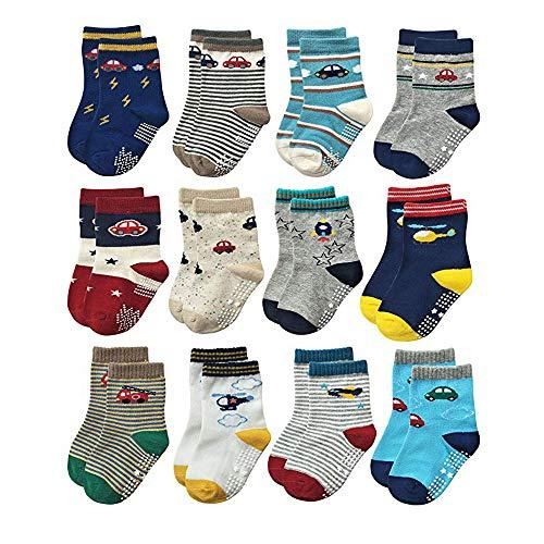 HYCLES Kinder Anti Rutsch Knöchel Socken - 12 Paar ABS Socken für 1-3 Jahre Baby Jungen Mädchen Kinder Kleinkind Säugling Neugeborenes Auto- und Flugzeug-stil