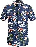 SSLR Camisa Manga Corta con Estampado de Flamencos y Flores Estilo Hawaiana de Hombre (Small, Armada)
