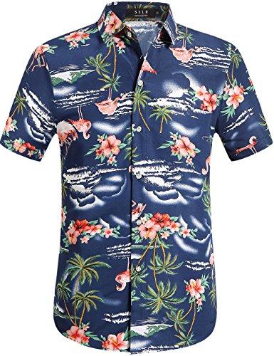 SSLR Herren Hemd Hawaiihemd Flamingos 3D Gedruckt Kurzarm Freizeit Hemd Button Down Aloha Shirt für Strand Reise (Large, Navy)