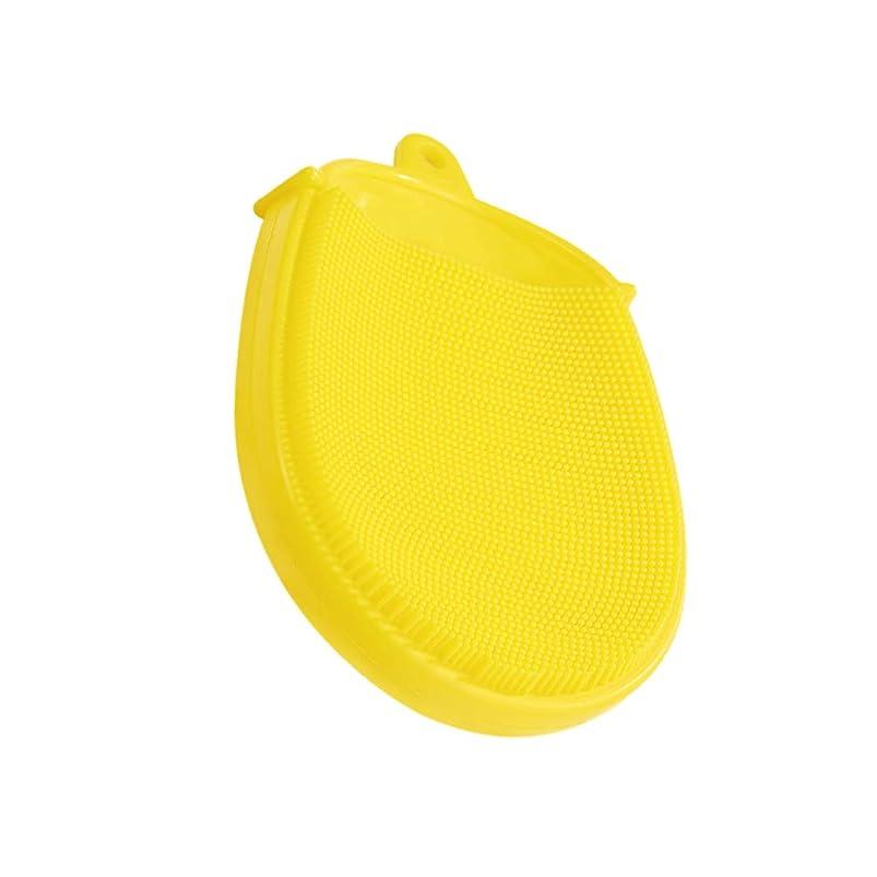 ライドテクスチャーフレットHeallily バスブラシシリコンボディブラシソフトマッサージバックブラシクレンジングスクラバーキッズバスアクセサリー(黄色)