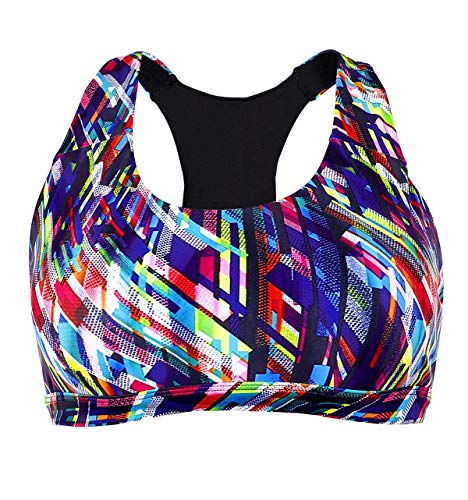 Charmo Sport-BH für Damen mit strahlenden schöne Farben Mittelbeanspruchung für Yoga Laufen, Bunt, XL