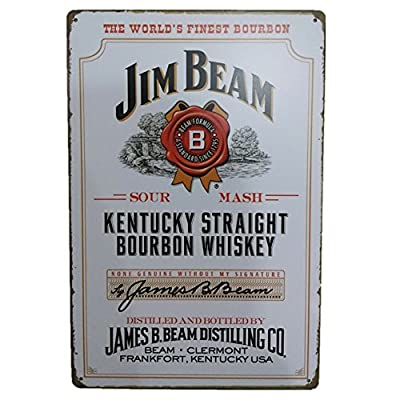 "JIM BEAM (Kentucky Straight Bourbon Whiskey)Beer Wine Retro Vintage Bar Metal Tin Sign Poster Style Wall Art Pub Bar Club Wall Decor12""X8"""