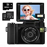 Digital Camera 2.7K 30MP with 3.0 Inch flip Screen Vlogging Camera for Beginners, Kids, Teens Photography with 32GB Micro SD Card and 2 Batteries (Focus Fixed)