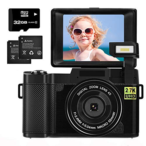 Digital Camera 2.7K 30MP with 3.0 Inch flip Screen Vlogging Camera for YouTube, Beginners, Kids, Teens Photography with 32GB Micro SD Card and 2 Batteries (Focus Fixed)