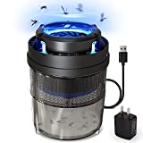 FLASHVIN Fliegenfalle Elektrisch, Leiser Mückenvernichter mit UV-Falle, Tragbarer USB-Insektenvernichter mit klebrigem Fliegenbrett, Mückenlampe mit Timer und Lichtsensor-Automatikschalter