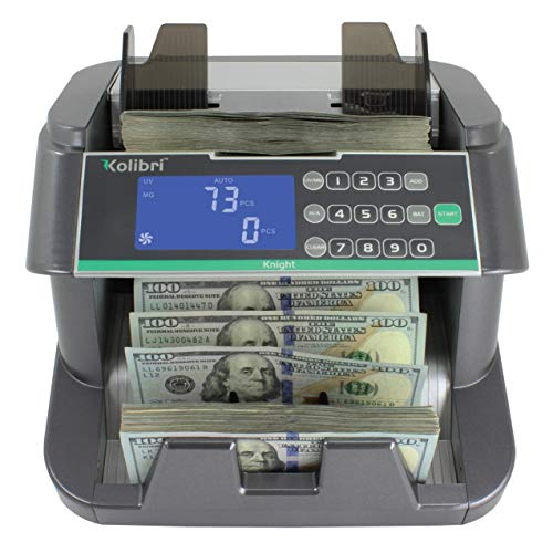 Kolibri Knight Money Bill Counting Machine with UV, MG, IR, HF, DB Counterfeit Detection, Top Loading Cash Counter with…