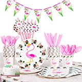 Flamingo Party Zubehör Set, 82 PCS Partygeschirr Kindergeburtstag Set Tropische Luau Partydekorationen für Mädchen Geburtstag Banner Tischdecke Platten Tassen Servietten Strohhalme Utensilien 10 Gäste