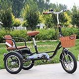 XYSQ Plus De Trois Roues Vélos Plus Personnes Pédalé Tricycles Adultes, Au Lieu De Marcher Loisirs Car Cargo Tricycles, 14 Pouces Résistant À l'usure des Pneus Gras (Color : Black-a)