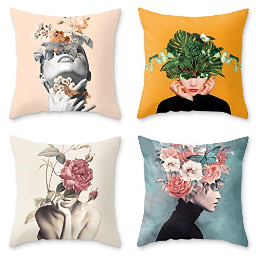 OATHENE Set of 4 Decorative Throw Pillow Covers,Art Girl with Flowers on Head Linen Cushion Sofa Bedroom Car,Home Decor,18 x 18 Inch.1353