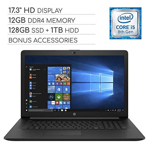 HP Pavilion 2019 Premium 17.3 inch HD Laptop Notebook Computer, 4-Core Intel Core i5-8265U 1.60 GHz, 12GB RAM, 128GB SSD + 1TB HDD, DVD, Wi-Fi, Bluetooth, Webcam, HDMI, Windows 10, Bonus Accessories