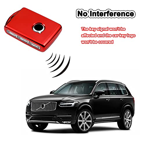 Key Fob Cover for Volvo Full Protection Soft TPU Smart Key Case Holder Fits for 2017 2018 2019 2020 2021 Volvo XC40 XC60 XC90 S90 V90 Keyless Entry Remote (Red)