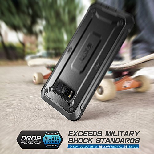 SUPCASE Outdoor Hülle für Samsung Galaxy S8 Hülle 360 Grad Handyhülle Bumper Case Schlagfest Schutzhülle Cover [Unicorn Beetle Pro] mit eingebautem Displayschutz und Gürtelclip (Schwarz)