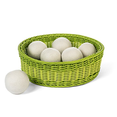 All Natural Laundry Dryer Balls: New Zealand Wool Dryer Ball - Eco Friendly & Non Toxic Fabric Softener Alternative Reduces Drying Time & Static Cling - Pack of 6 Reusable Extra Large Woolen Balls