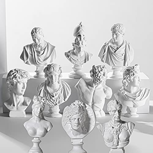 LAGOM HOUSE Greek Bust Statue and Sculptures Set of 10 PCS Bust Statue Resin Mini Greek Mythology Figurine Greek God Statue Bust Small for Decor/ Gifts /Drawing