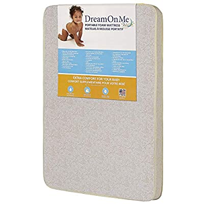 """Dream On Me, 3"""" Foam Pack and Play Mattress, White"""