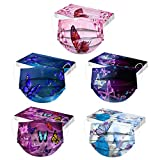 JIekyoi 50PCS Adult Unisex Butterfly Print Disposable Face_Másks,3-ply Meltblown Cloth Outdoor Activities Face Cover Half Face Bandanas,UK Fast Delivery 0203A5