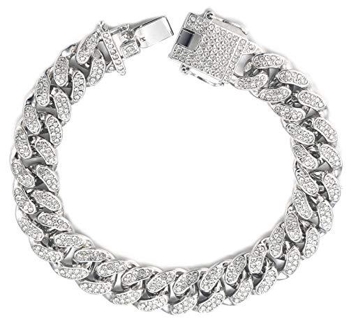 Halukakah Diamante Cadena Cubano para Mujer Niña,13.5MM Acabado en Oro Blanco Platino Pulsera 20cm,Cz Completa Juego de Puntas de Corte de Diamante,con Caja