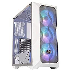 Cooler Master MasterBox TD500 Mesh White Airflow ATX Mid-Tower with Polygonal Mesh Front Panel, Crystalline Tempered Glass, E-ATX Up to 10.5