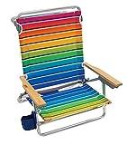 Rio Brands Beach Classic 5 Position Lay Flat Folding Beach Chair - Graphic Traffic Rainbow Stripe, 8.5'