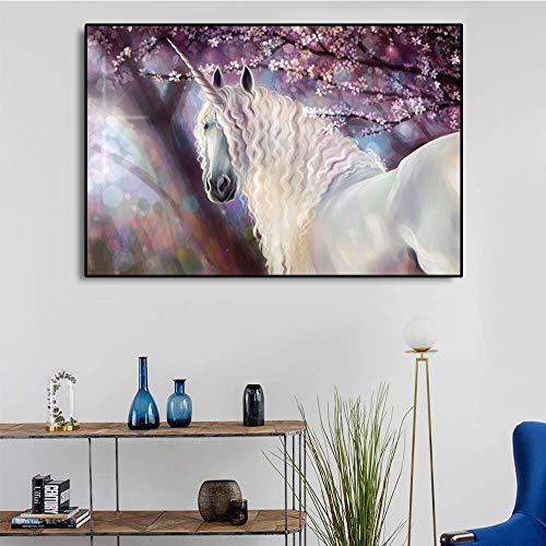 Pintura sin Marco Canvas Art Unicornio Pegasus Art Poster Picture for Kids Bedroom Modern Home Wall decorationZGQ2959 50X70cm