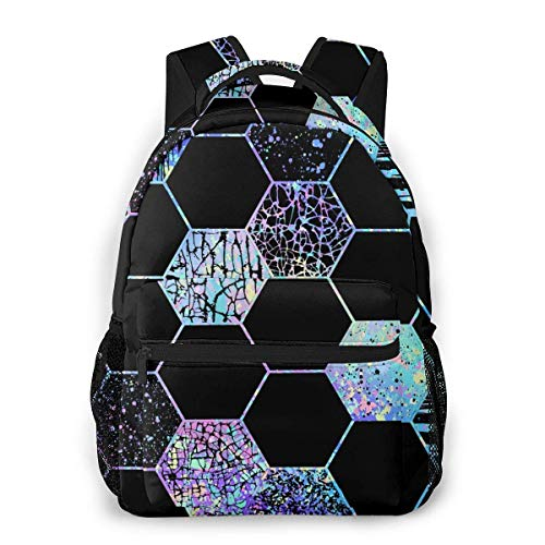Lawenp School Backpacks Geometric Pattern with Hexagon Shapes Holographic for Teen Girls&Boys 16 Inch Backpack Student Bookbags Laptop Casual Rucksack Travel Backpack