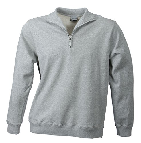 2Store24 Men's Round-Neck Zip Sweat in Sports-Grey Size: S