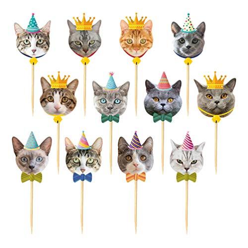 Amosfun 24 Stück Party Cupcake Katze Topper Kuchen Dessert Katze Picks Dekorative Kuchen Stick Topper für Mottoparty Geburtstag Hochzeit